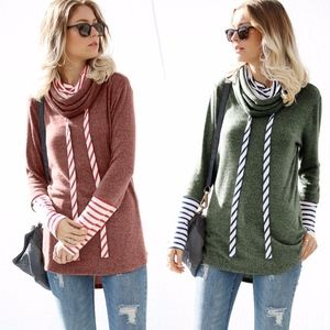 Stripes Detail Long Sleeve Top - OLIVE